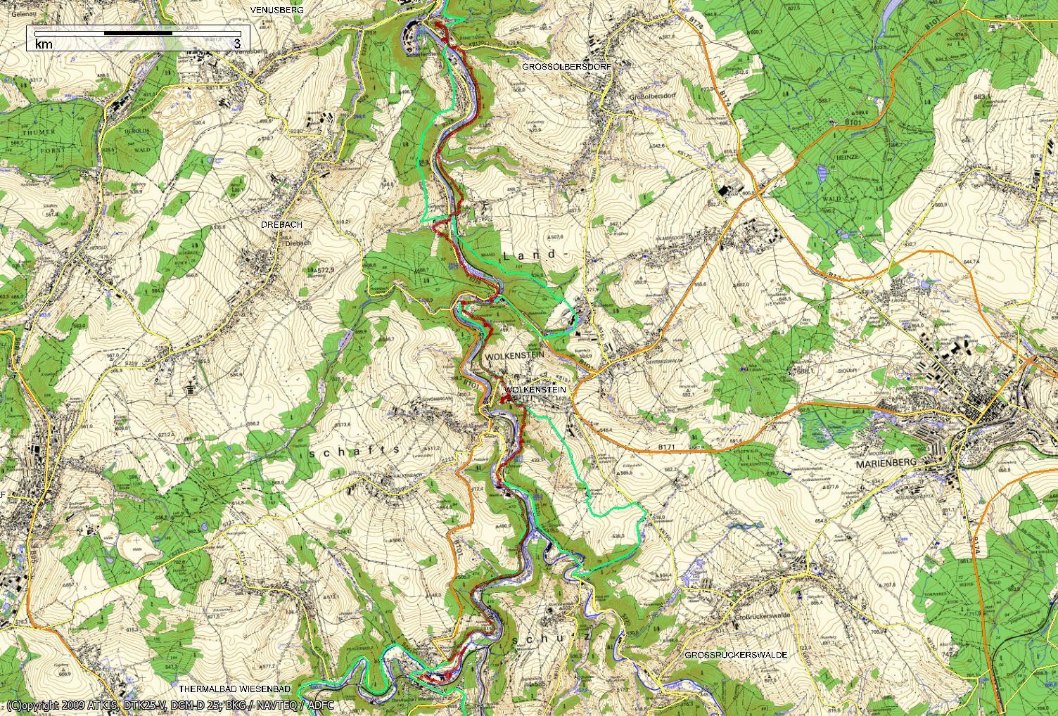 Wanderkarte Erzgebirge Wanderfreunde Hainsacker